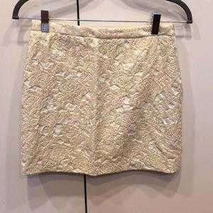H&M Cream Baroque Mini Skirt